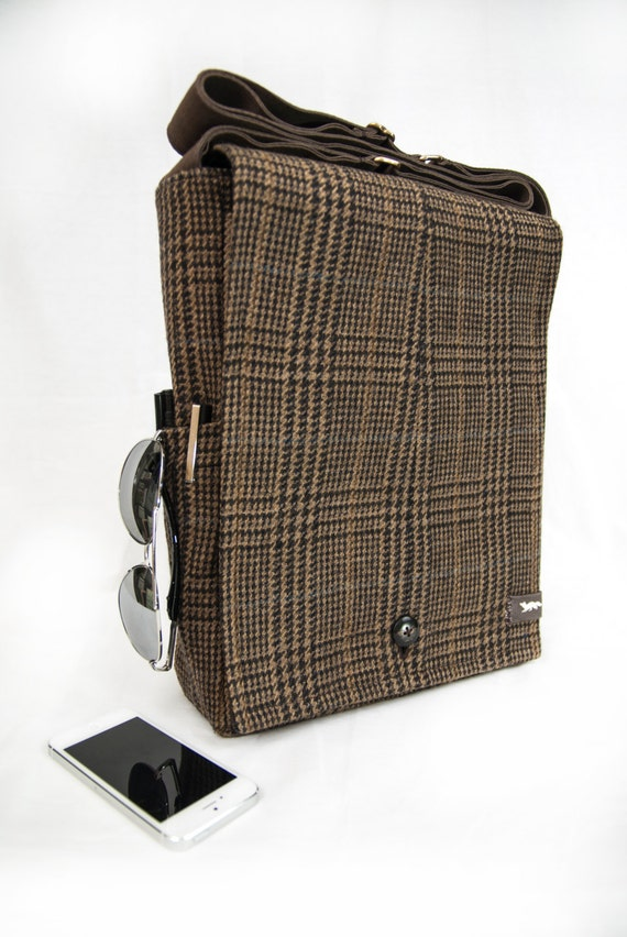 ORIGINAL SIZE Brown Plaid Wool Recycled Vintage Suit Jacket Messenger Bag