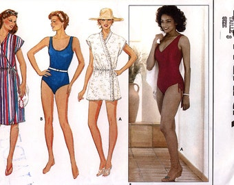 Butterick 6462 Vintage 80s Misses' Cover-Up & Swimsuit Sewing Pattern - Uncut - Size 8