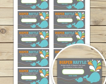 Whale Baby Shower Diaper Raffle Tickets Printable - Aqua Blue Baby Shower Games - Instant Download - Boy Baby Shower Diaper Raffle Inserts