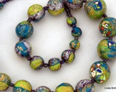 Colorful Bead  Necklace - shiny colors - Polymer Bead Necklace - graduated beads
