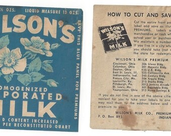 Wilson's Homogenized Evaporated Milk Vintage Label/Premium, 1920-40's