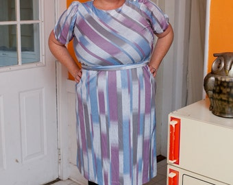 "striped secretary """" vintage plus size dress"