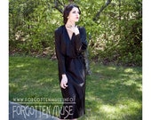 1900s - Mademoiselle Coco - black satin  long sleeve dress - size S M