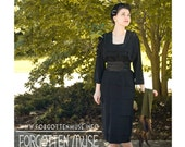 r e s e r v e d 40s - black crepe square neck cocktail dress with tiered layers - size L