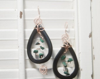 Black Onyx Tear Earrings with Copper and Deep Green Malachite Chips on Copper Hooks - Forest for the Trees - Art Jewelry by Sarah McTernen