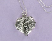 Sterling Silver Angel Wing Locket on Valentine's Day Card