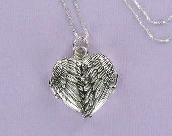 ANGEL WING LOCKET Necklace - 925 Sterling Silver - on I Love You Gift Card - Heart Anniversary Memorial