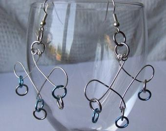 OOAK Silver & Blue Wire Art Earrings