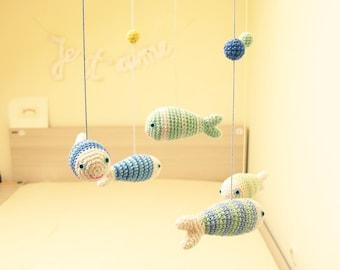 Fish Baby Mobile, Nursery Mobile, Nursery Decoration, Nautical Nursery, Hanging Fish Mobile