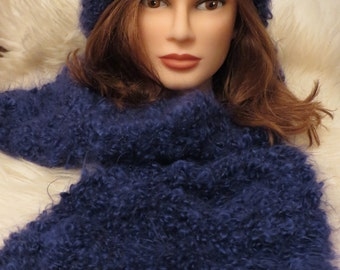 Vintage 70s Knitted Mohair Baggy Beanie and Scarf Set