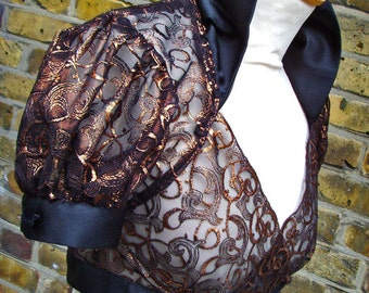Victorian steampunk shrug in metallic copper embroidered lace Small UK size 8