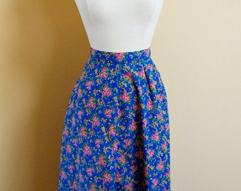 70s Bright Floral Vintage High Waisted Skirt