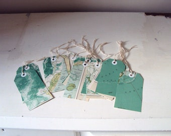 Six VINTAGE map luggage tags / gift tags