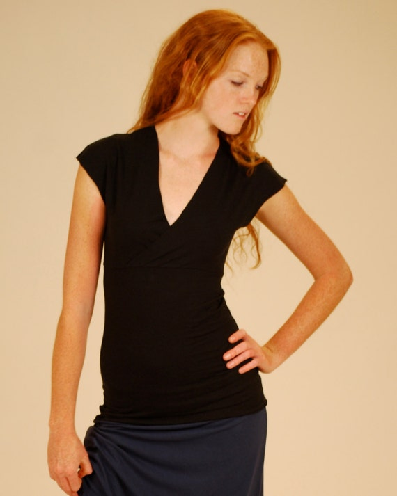 Short Sleeve Top - V Neck - Cross Front - Eco Friendly - Organic Clothing - Several Colors Available