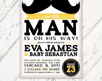 Mustache, Lemon Yellow & Black - Retro Vintage Baby Shower Invitations