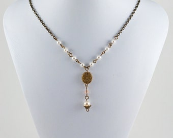 Antiqued Flower & Pearls Necklace