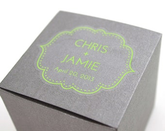 """Wedding Stickers - 48 personalized clear favor stickers - 2.25"""" x 1.875"""" custom bracket transparent labels for tins, boxes,"""