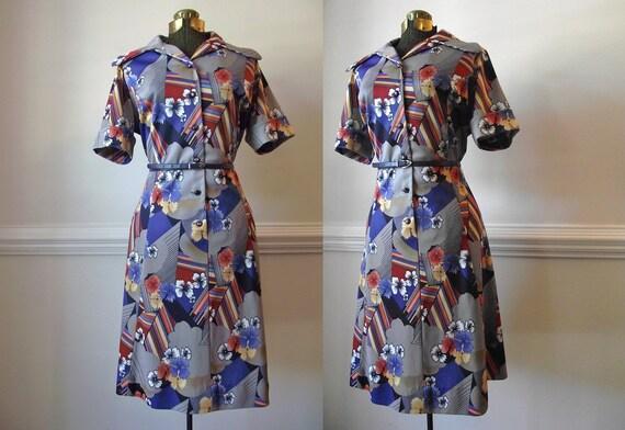 70s Day Dress / Plus Size 1970s Grey / Novelty Print Vintage