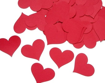 25 Large Red Heart die cut punch confetti cutout tag scrapbooking embellishments - No534