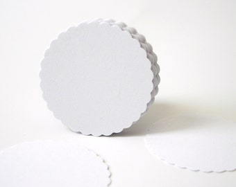 """50 White Scalloped Circles punch die cut scrapbook embellishments - 1"""" circles - No150"""