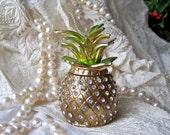 Vintage Pineapple Bejeweled Trinket Box