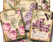 ANTIQUE FLORALS Digital Collage Sheet Instant Download for Scrapbooking Paper Crafts Gift Tags Vintage Cards Labels Gallery Cat CS216