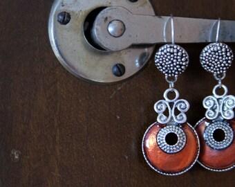 Decorative Red Dangle Earrings