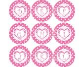 Valentine Bottlecap Image Sheet Pink White Polka Dot Pink Heart Fun Monogram Initial Bottlecap Alpha Initials Set INSTANT DOWNLOAD