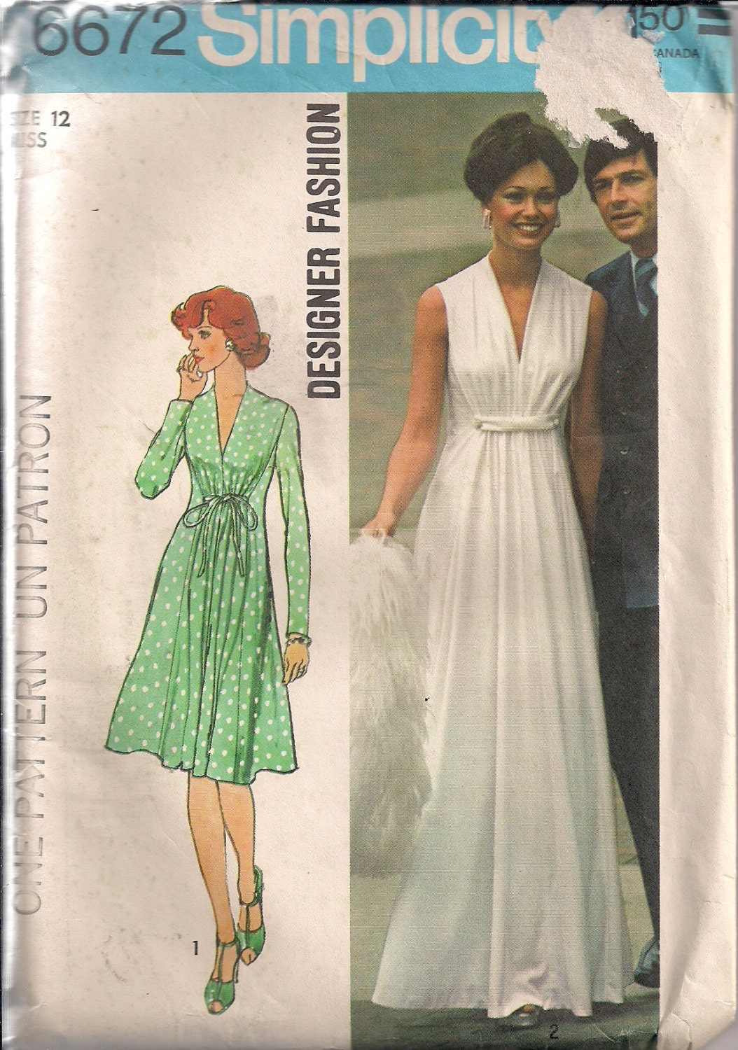 Vintage 70s Uncut Sewing Pattern Maxi Dress Wedding Dress