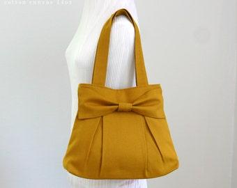 SALE - Bridesmaid tote / Dark Mustard Bow Canvas Bag / Bridesmaid Gift / Shoulder bag / Handbag / Pleated Purse / Cute