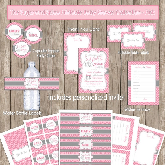 Items similar to Sugar and spice baby shower invitation package