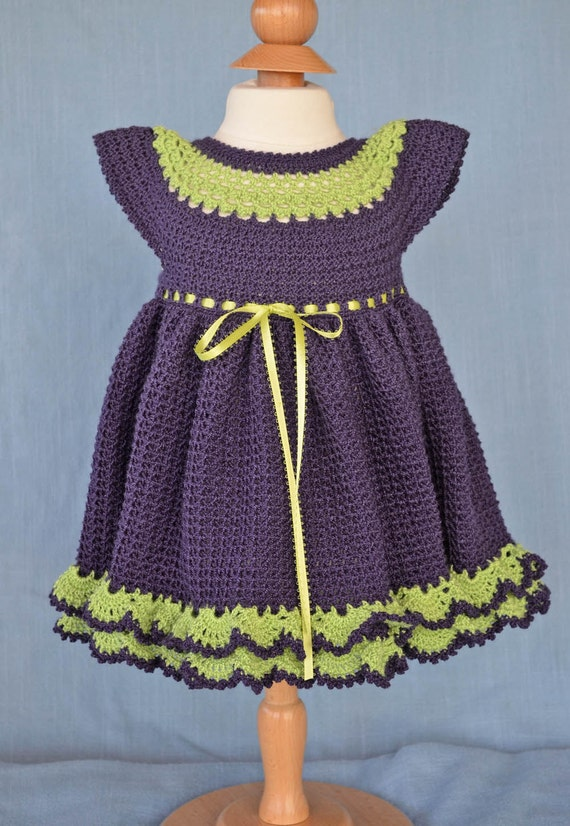 Purple and Lime Green Baby Dress And Booties13097y-G