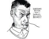 Samuel Beckett portrait poster print, Great Writers, Literary Print, Irish playwright, Home Decor