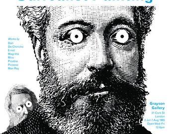 Surrealist Poster Print: Painting Exhibition Announcement, Modern Art, 20th Century