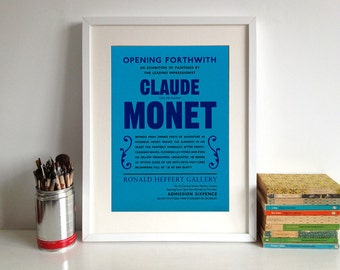 Monet Poster Print: Modern Art, 20th Century, Exhibition Announcement Poster, French Impressionist Painting