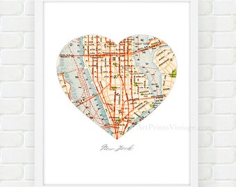 New York City Map, Map Heart Print, Manhattan Map, NYC Wall Art - As seen on Apartment Therapy