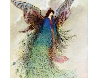 Peacock Fairy Print - Moon Maiden Feather Cloak and Wings - Warwick Goble