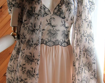 1940s Rogers Peignoir Set | Vintage Lingerie | 1940s Negligee Set | Wedding Peignoir Set | Gorgeous Nightgown & Robe Set | Sheer Lingerie