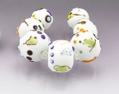 White lampwork bead set White focal bead set large white beads White glass beads etched beads Miro beads Made to order  Anne Londez
