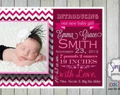 Girl Birth Announcement Pink Chevron