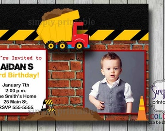 Boys Birthday Invitation Truck