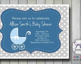 Baby Shower Invitation with Stroller