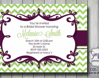 Purple/ Green Chevron Bridal Shower Invitation