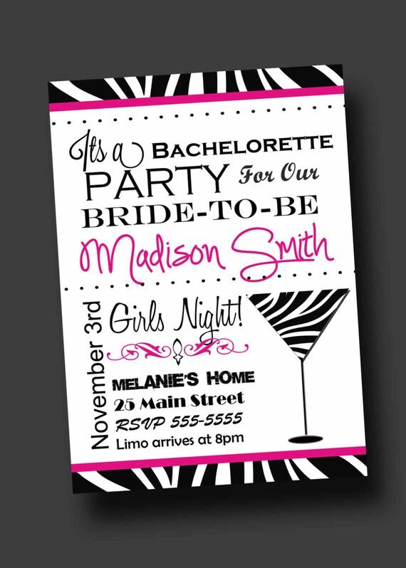 bachelorette party invitation zebra print printable digital, Party invitations