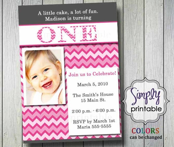 First Birthday Invitation Chevron Photo