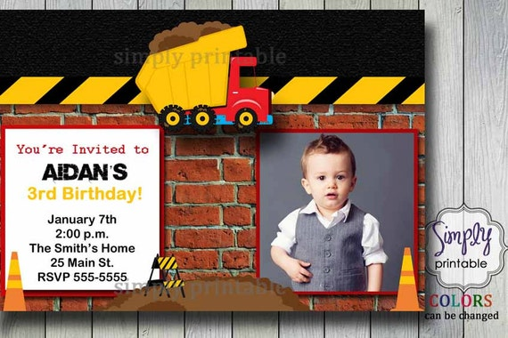 Boys Birthday Invitation Truck