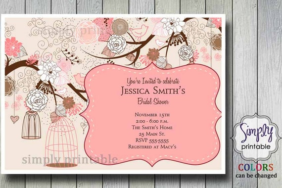 Bridal Shower Invitation with Vintage Floral