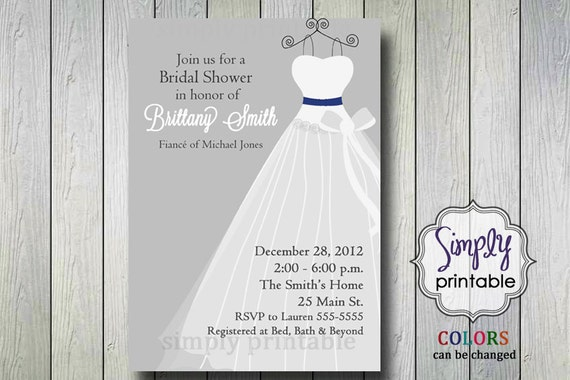 Silver Wedding Dress Bridal Shower Invitation (Printable Digital File)