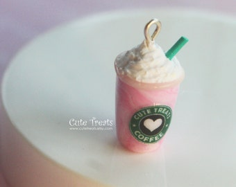 Starbucks Strawberries and Cream Frappuccino Inspired Necklace