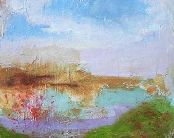 Angela Petsis, Original Mixed Media Painting, Original Art, Impressionst Painting, Spring Meadow